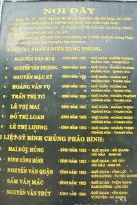 Danh sách liệt sĩ hy sinh tại hang Tám Cô