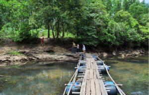 Cây cầu được bắc qua suối đơn sơ